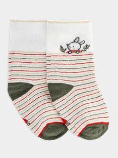 Chaussettes rayées blanches bébé garçon SADONALD / 19H4BG31SOQ000