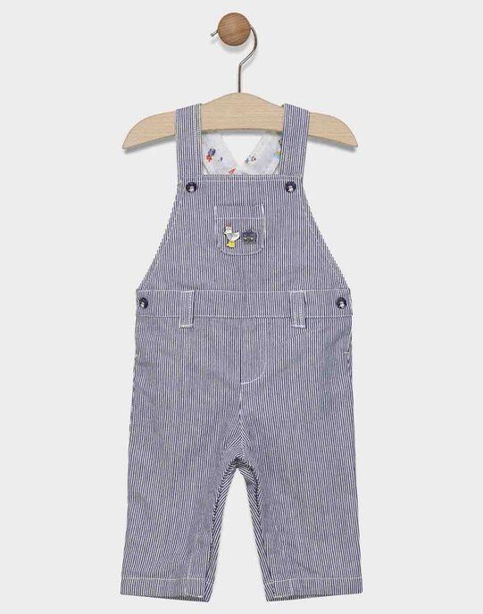 Salopette  bébé garçon à rayure bleu et blanc  SAFULBERT / 19H1BG41SALC214