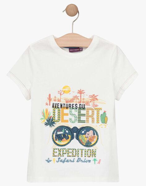 T-shirt manches courtes écru motif fantaisie enfant garçon TOFIAGE / 20E3PGQ1TMC001