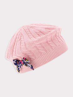 Bonnet rose pale bébé fille SAERNESTA / 19H4BF42BON301