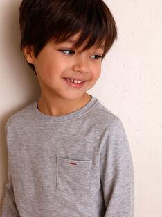 T-shirt gris manches longues et détail poche enfant garçon ZAZOAGE3 / 21E3PGK1TMLJ924