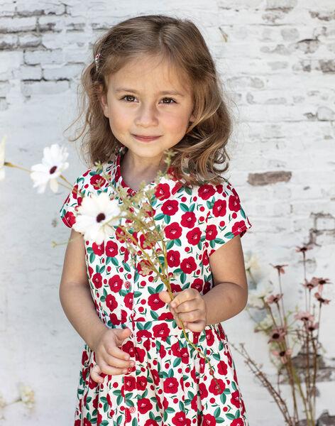 Robe manches courtes à imprimé coquelicot enfant fille BABILETTE / 21H2PF11ROB001