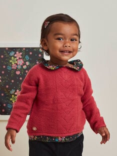 Pull maille rose fuchsia col Claudine imprimé bébé fille BAMATHILDE / 21H1BFM1PUL304