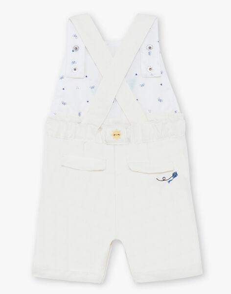 Salopette courte jaune et blanche à rayures bébé garçon TYHALIL / 20E1BGZ1SACB116