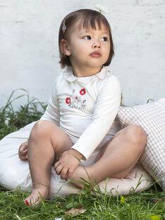 Body écru imprimé col broderie anglaise bébé fille BAANDREA / 21H1BF11BOD001