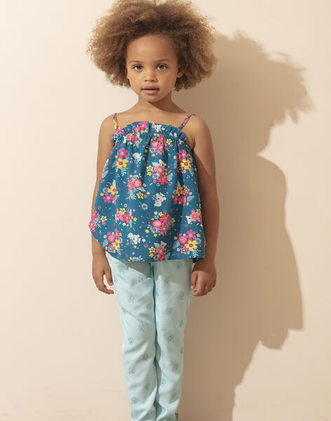 Pantalon bleu ciel imprimé feuilles enfant fille ZUPATETTE 3 / 21E2PFS1PANC242
