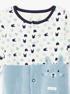 Grenouillère bicolore en velours imprimé lapin et peluche bébé garçon BECHARLES / 21H5BG71GREC202