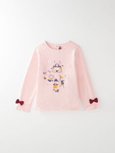 Tee-shirt manches longues rose avec animation VIKAOETTE / 20H2PF61TML301