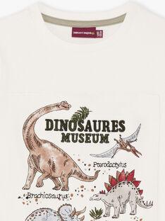 T-shirt écru à motifs dinosaures enfant garçon BAMOAGEEX / 21H3PG21TMC001