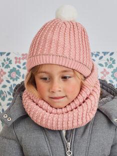 Bonnet en maille fantaisie rose pâle enfant fille BLODAETTE / 21H4PFD1BOND300