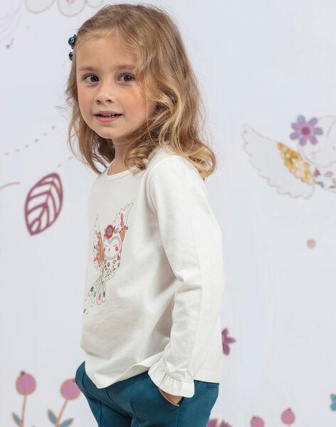 T-shirt manches longue écru imprimé fantaisie enfant fille BOSANDETTE / 21H2PF91TML001