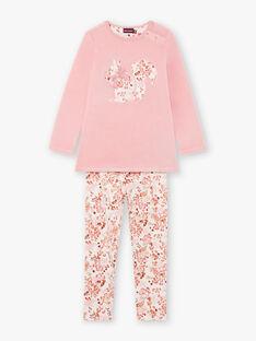 Pyjama manches longues rose à imprimé fleuri en velours enfant fille BEBETTE / 21H5PF62PYJ312