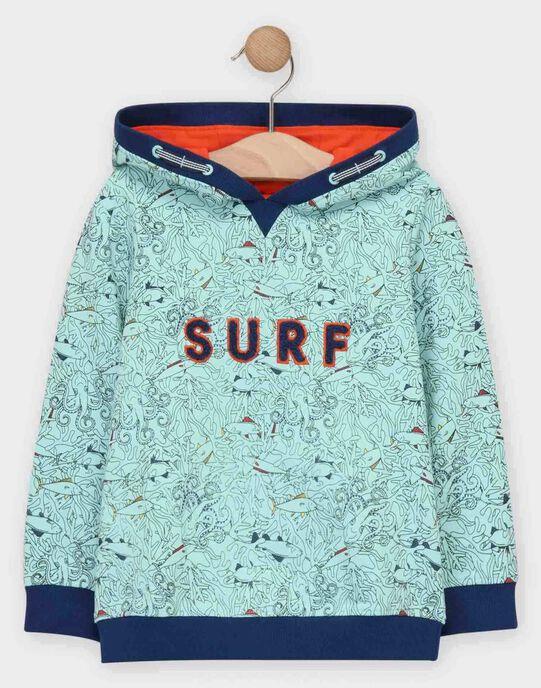 Sweat shirt à capuche bleu imprimé océan garçon  TUSITAGE 1 / 20E3PG91SWEC242