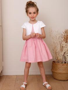 Robe rose à fines rayures brodée enfant fille TYSSOETTE / 20E2PFJ3CHSF507