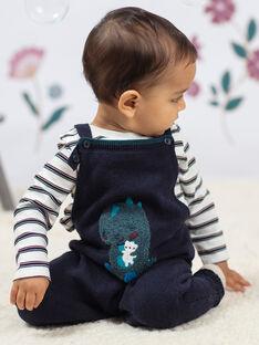 Salopette maille bleu nuit motif dinosaure bébé garçon BAJAMIE / 21H1BG91SAL715
