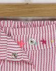 Short rose à rayures brodée bébé fille RAVIRGINIE / 19E1BFQ1SHOD302