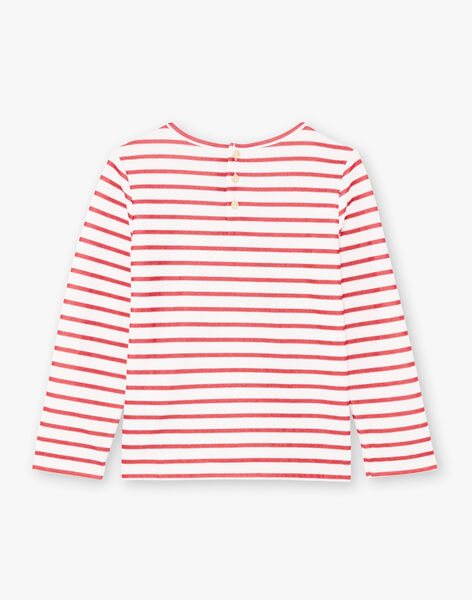 T-shirt manches longues marinière rouge enfant fille BROMARETTE2 / 21H2PFB6TML001