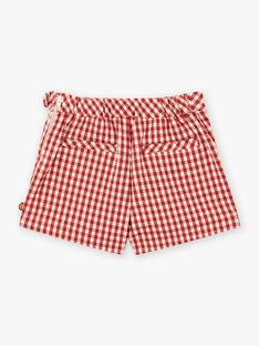 Jupe-short à carreaux rouge enfant fille BUSHOETTE / 21H2PFJ1SHO001