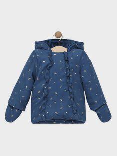 Parka imprimée bleu pétrole bébé fille SISOPHIE / 19H1BFJ1PAR714