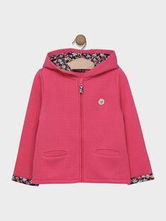 Cardigan à capuche maille fantaisie rose fille  SIJAMETTE / 19H2PF41CAR305