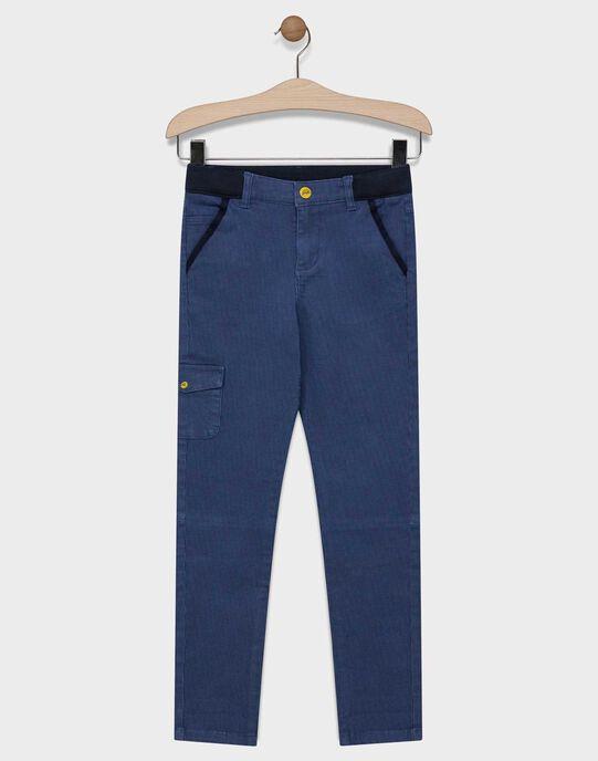 Pantalon bleu marine imprimé pied de puce garçon SANUAGE / 19H3PG41PAN020