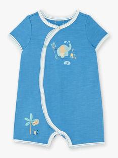 Combinaison short bleue animaux de la savane bébé garçon ZEDAHO / 21E5BG21GRE204