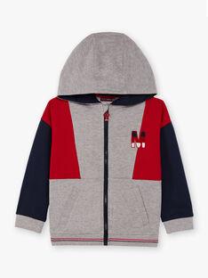 Veste de jogging à capuche gris chiné enfant garçon BASAGE2 / 21H3PG33JGH943