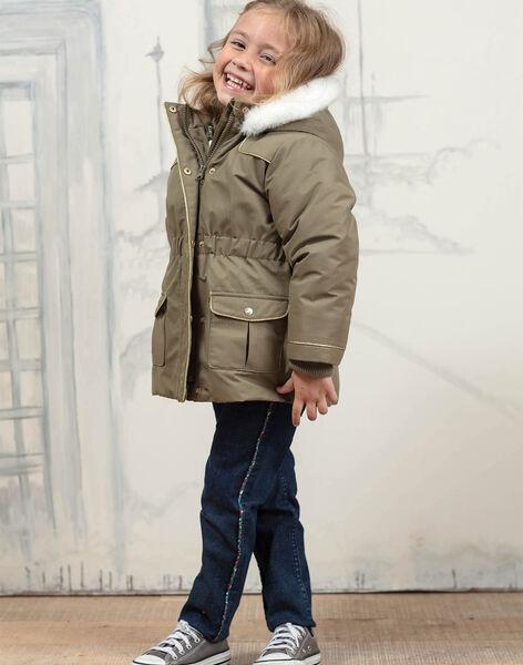 Parka kaki à capuche avec doudoune intégrée enfant fille BLOTEDETTE / 21H2PFC1PAR604