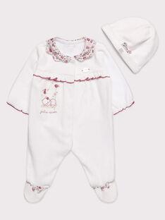 Grenouillère et bonnet écru bébé fille  TUVALERI B / 20E0NFR1GRE000
