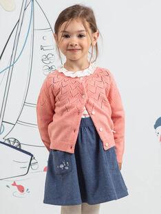 Cardigan manches longues rose motif lapin enfant fille BYCARETTE / 21H2PFL1CAR415