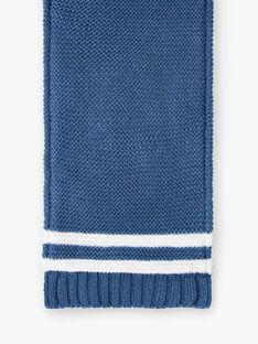Echarpe bleue rayures point mousse ZUBADOUR / 21E4BGM1ECHC230