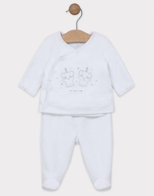 Ensemble naissance cardigan et pantalon à pied en velours bébé mixte SYAPRIL / 19H0NM11ENS000