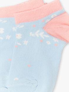 Chaussettes bleu ciel et roses enfant fille ZUCAETTE / 21E4PFT1SOB201