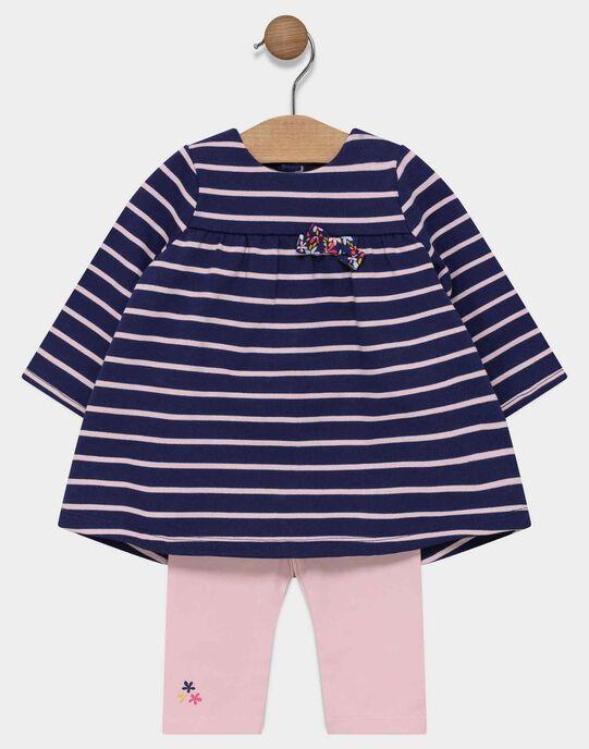 Ensemble de robe marine à rayures et legging rose bébé fille SAELENA / 19H1BF41ENS070
