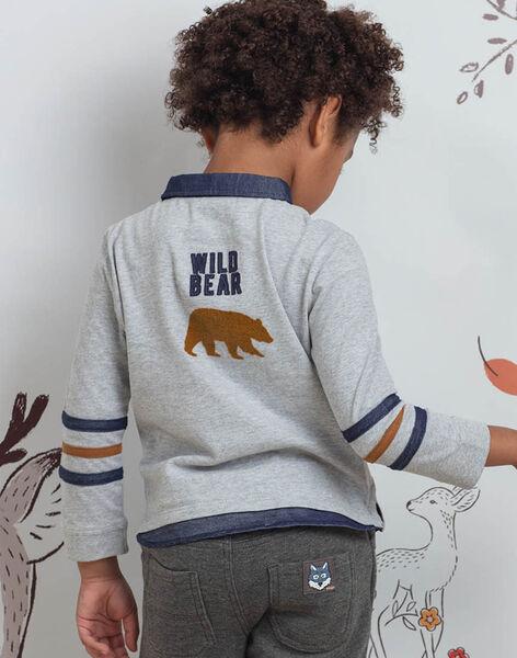 Polo manches longues gris motif ours enfant garçon BICLOAGE / 21H3PGJ1POLJ902