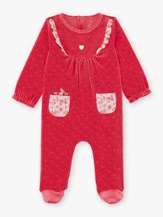 Grenouillère rose et hochet biche bébé fille BEBINA / 21H5BF62GRED325