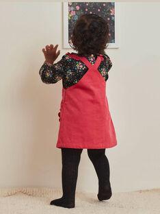 Robe salopette en velours côtelé fuchsia bébé fille BAMARIE / 21H1BFM1CHS304
