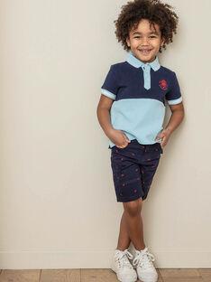 Bermuda bleu nuit brodé enfant garçon ZIMIAGE / 21E3PGT1BERC214