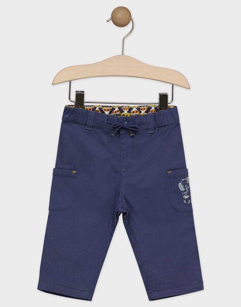Pantalon bébé garçon bleu ardoise, doublé en popeline de coton   SAKASPER / 19H1BG62PANC203