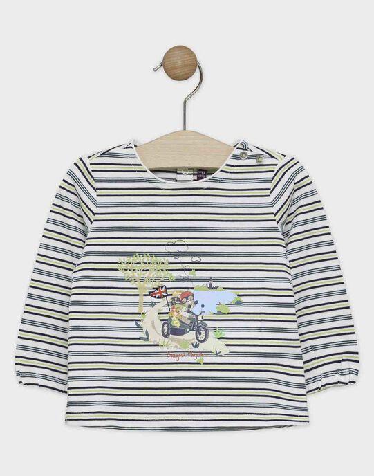 Tee-shirt manches longues bébé garçon à rayure avec placé poitrine  SAMADY / 19H1BGC1TML001
