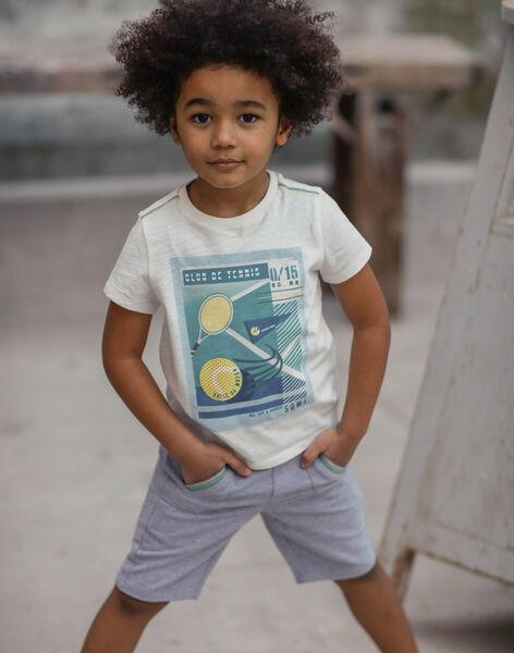 T-shirt écru à manches courtes motif affiche enfant garçon ZEBILAGE / 21E3PGO1TMC001
