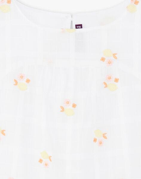 Chemisier blanc broderies citrons enfant fille ZIBOETTE / 21E2PFO1CHE000