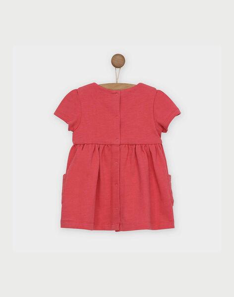 Robe rose manches courtes brodée bébé fille RABETTY / 19E1BF21ROB303