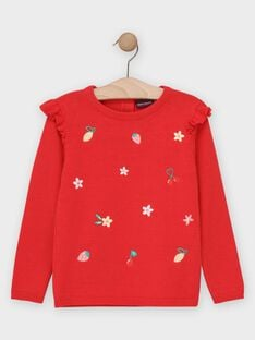 Pull rouge broderie fruits fille  TULIETTE / 20E2PFH1PUL050