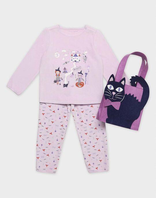 """Pyjama en velours """"spécial halloween"""" phosphorescent et sac à bonbons petite fille SYZIETTE / 19H5PFK2PYJ309"""