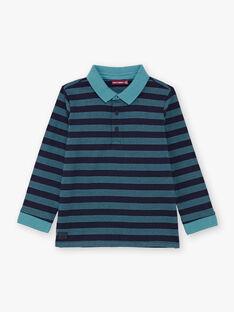Polo bleu turquoise manches longues à rayures bleu marine enfant garçon BUXAGE3 / 21H3PGB1POL202