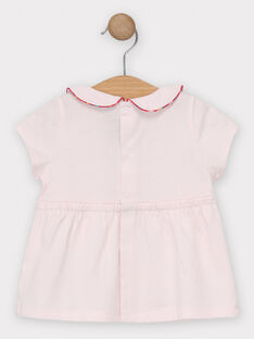 T-shirt manches courtes rose pâle col claudine bébé fille. TASABRINA / 20E1BFQ1BRAD317