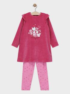 Chemise de nuit haut en velours et bas en jersey rose petite fille SYVONETTE / 19H5PFK1CHND328
