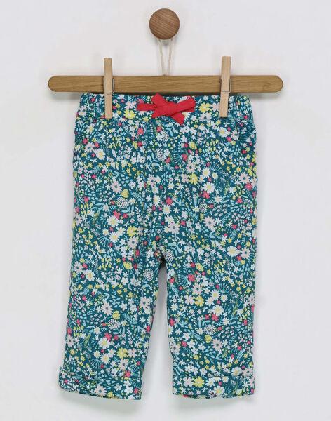 Pantalon vert imprimé fleuri bébé fille RADANOU / 19E1BF61PANG618