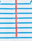 Combinaison de bain rayée écrue et bleu marine bébé garçon ZIRENAUD / 21E4BGR2CBBC201